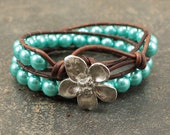 Colorful Pearl and Leather Bracelet Silver and Turquoise Wrap Bracelet Shabby Boho Chic Jewelry Bohemian Flower Bracelet