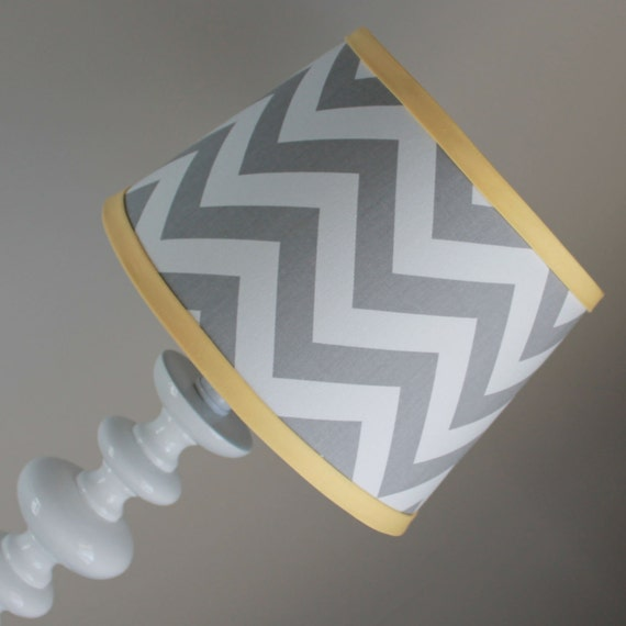 small white gray chevron lamp shade with accent yellow. Black Bedroom Furniture Sets. Home Design Ideas