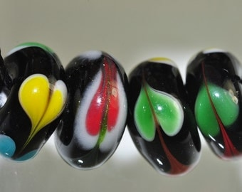 Listed @10% Off Sale Was 9.89---4 Pieces 12x6mm Artsy~ Unique Vintage Fancy LAMPWORK Glass Hand-painted Rondelle Beads - N0848