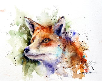 RED FOX Watercolor Nature Print by Dean Crouser