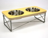 Modern Pet Feeder - Dog Bowl or Cat Bowl Elevated Feeder Stand Mid Century Modern Design Eames Inspired in Yellow Color