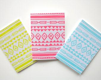 Letterpress Blank Cards - Neon Aztec  - Set of 6 (six)