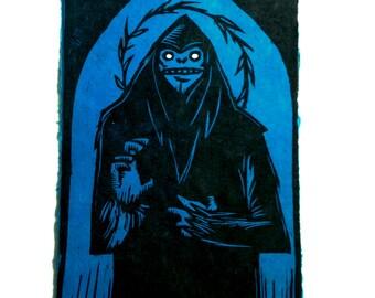 Saint Sasquatch Woodcut Print DARK BLUE