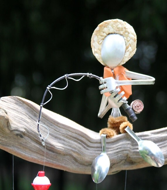 Country boy fishing flatware wind chimehostess by nevastarr for Unique fishing gifts