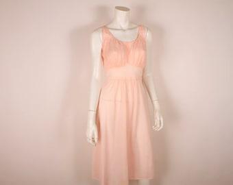 1950s Pink  Nightgown - 50s Nylon Chiffon Lingerie