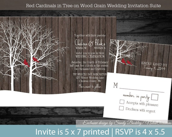 Rustic Woodland Winter Wedding Invitations Country Winter Landscape with Trees and Red Cardinals on Wood Grain Printable File