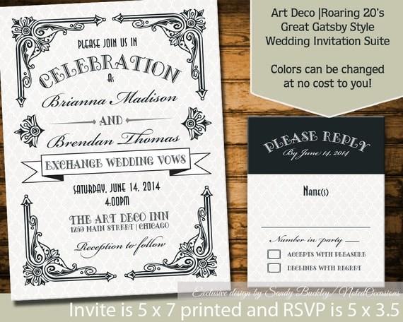 Great Gatsby Wedding Invitation: Art Deco Wedding Invitations Great Gatsby By NotedOccasions