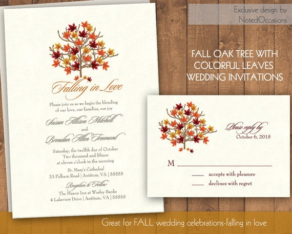 Homemade Fall Wedding Invitations: Fall Wedding Invitation Suite Autumn Oak Tree By