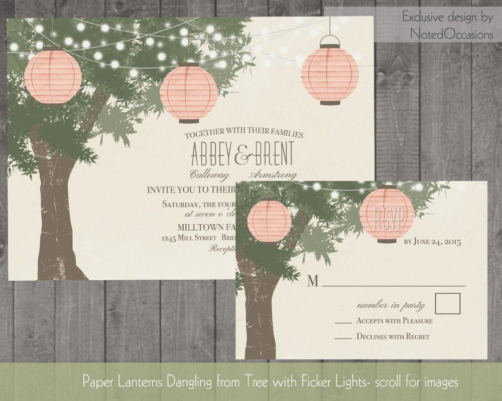 Paper Lanterns Wedding Invitations Tree with Twinkle Lights Wedding ...