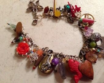 Charm Bracelet - Silver Gold Brass Jewelry - Beaded Jewellery - Fashion - Mod - Funky