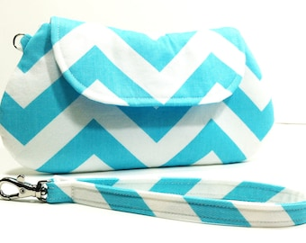 Aqua Chevron Clutch Purse, Makeup Bag, Cosmetic Bag