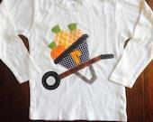 Pumpkin Wheelbarrow Shirt -  Fall Halloween Pumpkin Applique - Great for Fall Photo Shoot or Family Pictures