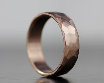 faceted wedding band - men's wedding band, women's wedding band, rose gold wedding band, men's wedding ring, women's wedding ring, gold ring