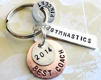 GYMNASTICS COACH Keychain - Key Chain - Gymnastics, Basketball, Football, Soccer, Golf - Best Coach