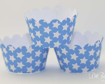 MINI Blue and White Stars Cupcake Wrappers - Mini Cupcake Wraps Set of 24