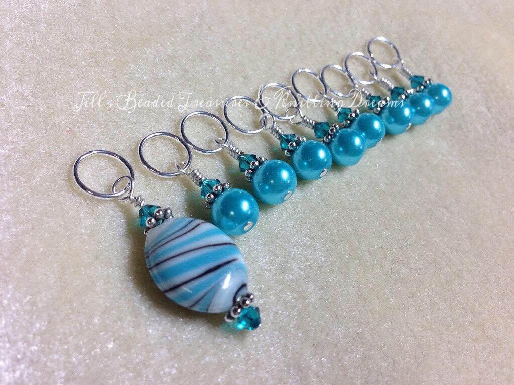 Beaded Knit Stitch Marker Pattern : Snag Free Beaded Stitch Marker Set Sky Blue Stripes Knitting