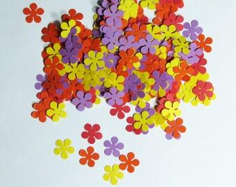 Flower Confetti Red Orange Yellow Purple 500 Pieces