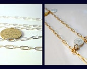 BULK, Strong  Drawn Rectangular Link Chain in Sterling Silver 14k Gold Filled Chains CHOOSE LENGTH, and Finish