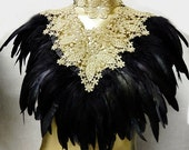 Victorian Gold LACE Coque Feather Corset Collar Romantic Elegance