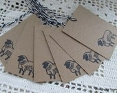 Sheep Tags - set of six from original hand carved stamp