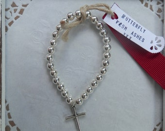 Roselyn sterling silver plated bracelet silver cross for everyday, gift, christmas