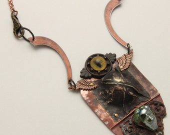 Handmade Foldformed Copper Bronze Steampunk Pendant with Chain