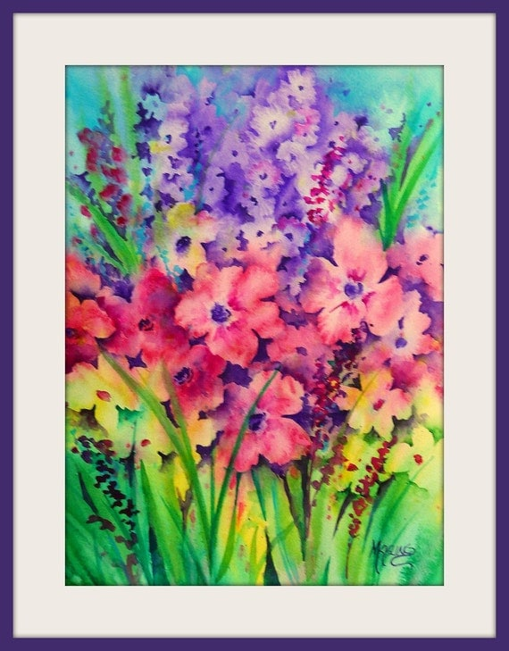 Vibrant Watercolor of Spring Garden Flowers by Colorado Artist Martha Kisling