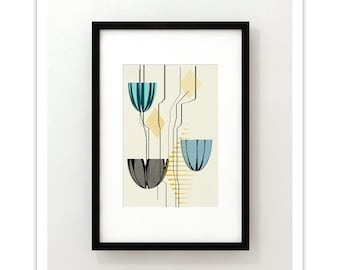 LOTUS 180 - Giclee Print - Mid Century Modern Danish Modern Abstract Modernist