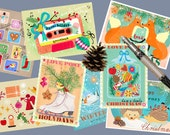 Brand new illustrated Retro Christmas Post Cards from Elisandra