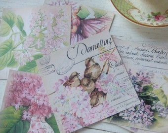 Notecards - blank notecards - shabby cottage chic notecards - flower notecards - small notecards - embellishments - scrapbooking