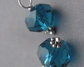 Teal Blue Crystal Wire Wrapped Bead Dangles Charms with Daisy Spacers 9mm