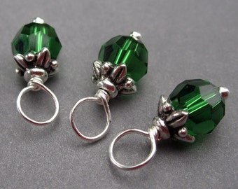 Swarovski Dark Moss Green Crystals, 6mm Swarovski Charms, Interchangeable Earrings, Wire Wrapped Bead Dangles, Stitch Markers