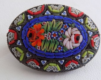 Antique Italian micromosaic floral brooch,signed ITALY brooch, late 1800s-early 1900s brooch, antique jewelry