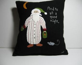Primitive Folk Art Nightcap Santa on Black Wool Pillow