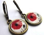 Red Poppy Earrings Bronze Flower Hippy Boho Fashion Jewelry