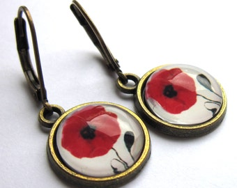 Red Poppy Earrings Bronze Flower Hippy Boho Fashion Jewelry
