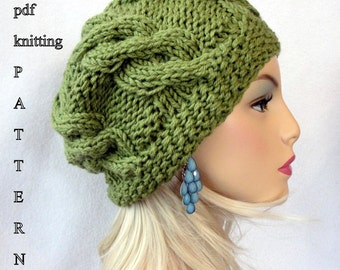 Knitting Hat Pattern, Knit slouch beanie pattern, Knit European Slouch Beanie Pattern