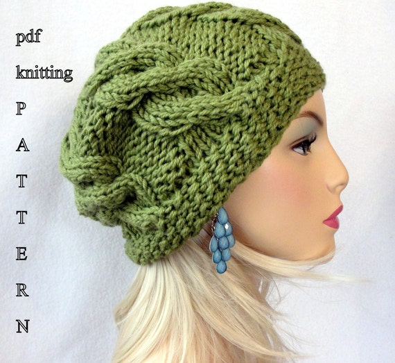 Slouchy Cable Knit Hat Pattern : Knitting Hat Pattern Knit slouch beanie pattern Knit
