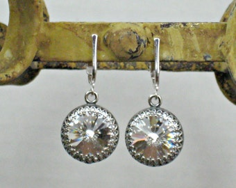 NON PIERCED Earrings Bridal Swarovski Crystal and Silver for Weddings with Pierced Looking Ear Wires