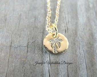 Gold Necklace - Palm Tree Necklace -  Handstamped Palm Tree Necklace - Beach Necklace - Palm Tree
