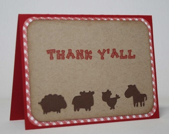 Farm thank you cards - Farm birthday, red and brown, Thank y'all, Set of 12