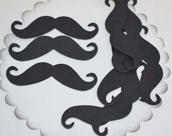10 Hand Punched 2 1/4 inch Black Mustache Acid Free Weddings Parties Birthday