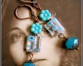 Art Deco Italian Blue Glass Millefleur & Crystal Earrings, Downton Abbey Earrings, The Titanic Earrings, Capri Blue Italian Glass Earrings
