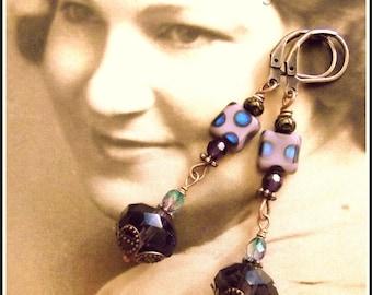 Brilliantly Purple Vintage Style Earrings, Czech Crystals in Purple, Downton Abbey Purple Earrings, Edwardian Purple Vintage Style Earrings
