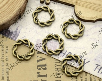 30 pcs of Antique Brass fancy jumpring ,metal bead,loose  round rings beads,finding 15mm