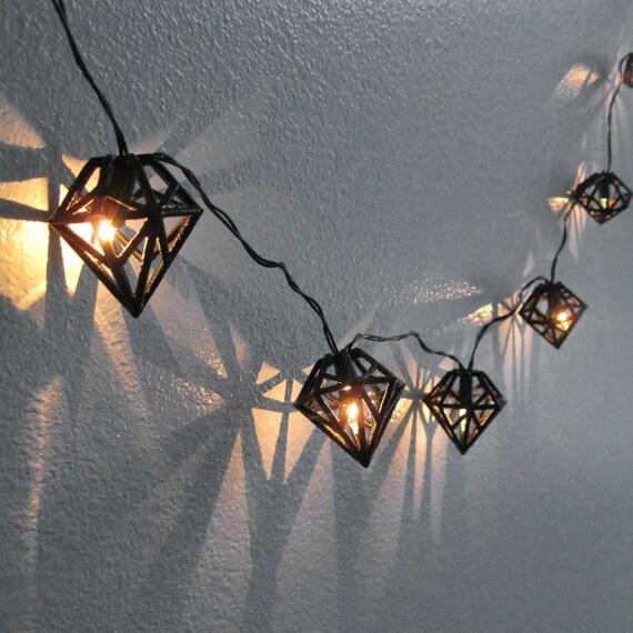 Black Diamond String Lights 3D Printed Geometric Bulb