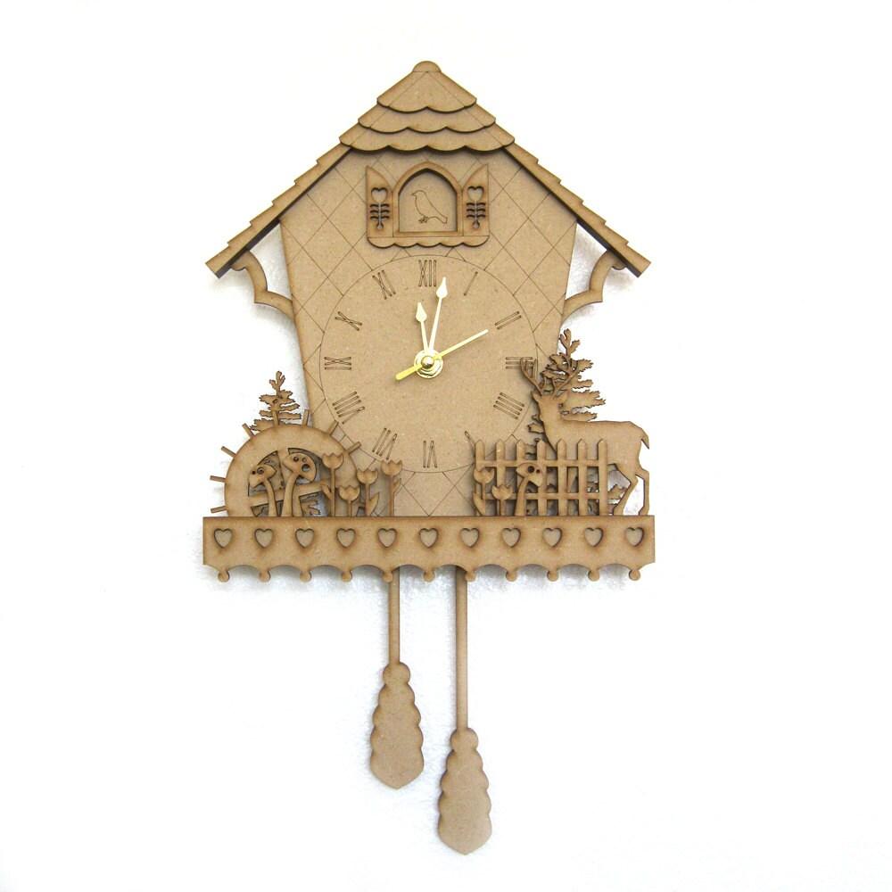Cuckoo Clock Wood Clock Woodland Clock Unique Wall Clock