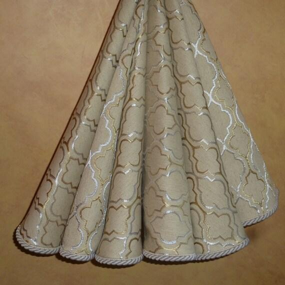 Linen Christmas Tree Skirt: Metallic Silver And Gold Threaded Linen Christmas Tree Skirt
