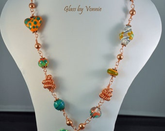 Lampwork and copper necklace.
