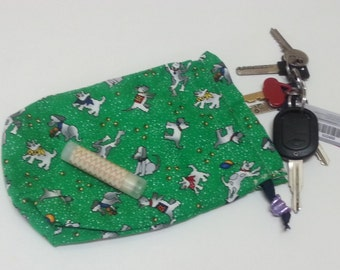 String Bag, Green Accessories bag, Dog print phone string bag, Small Pouch